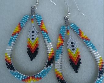 Native American Teardrop Brick Stitch Beaded Earrings