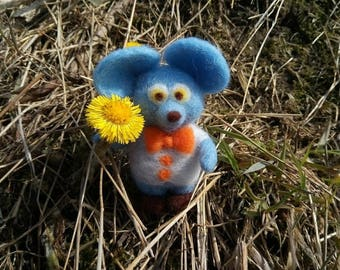 Mouse wool blue cute toy gift for her handmade