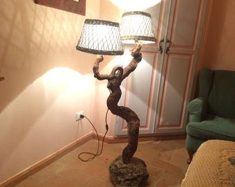 Handmade lamps created with rustic materials