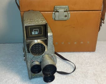 Vintage Made in 1950's  Revere Electric Eye- Matic  8 mm Magazine Load Movie Camera Model C-4 No.EE62284 With Original Case