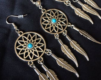 Hand Crafted Sterling Silver Dream Catcher Earrings and Necklace