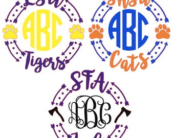 School Spirit Monogram Decal