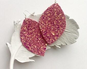 Pink Martini Earrings, Leaf Earrings, Lightweight Earrings, Jewelry, Statement Jewelry, Handmade Earrings, Light Earrings, Glitter Earrings