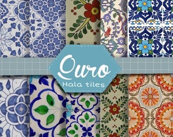 Printable 12x12 size digital scrapbook or background paper, hala tiles