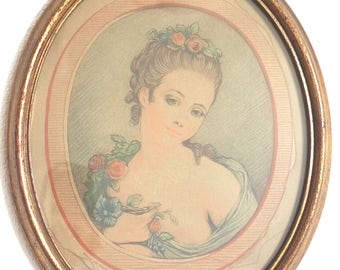 Vintage Lady print with a wooden frame