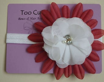 pretty White And Maroon Floral Headband with Rhinestone and Pearl Embellishment