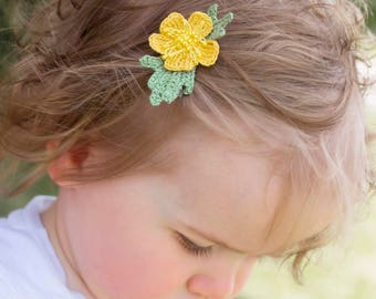Buttercup flower-hair clip -or-headband-Handmade-hair accessories-Girls-heir decorations-flower-crochet flower-mini flower clip-sale