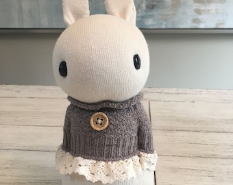Hand made sock rabbit with lace