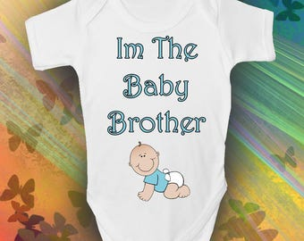 Im The Baby Brother Baby Grow - Cool Retro Baby Romper