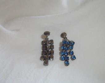 Vintage Royal Blue Rhinestone Chandelier Dangle Screw Back Earrings 1950's 1960's 1970's