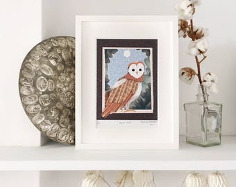 Barn Owl Illustration Art Print, Limited edition (framed and unframed options available)