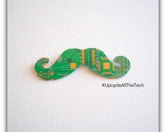 Handlebar Moustache Silhouette Cut Out of Recycled Circuit Board - Choose Option: Magnet, Pin or Hanging Ornament