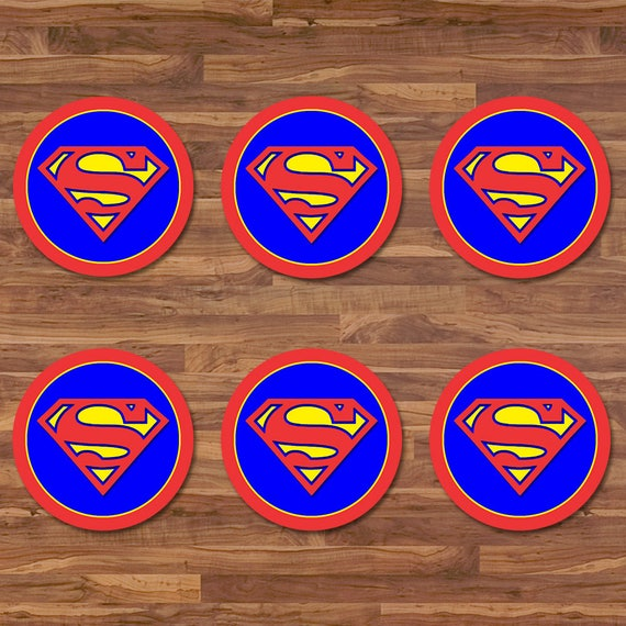 Superman Cupcake Toppers - Batman Stickers - Blue & Red Logo - Superman Birthday - Superman Printables - Superman 2 inch Round Stickers