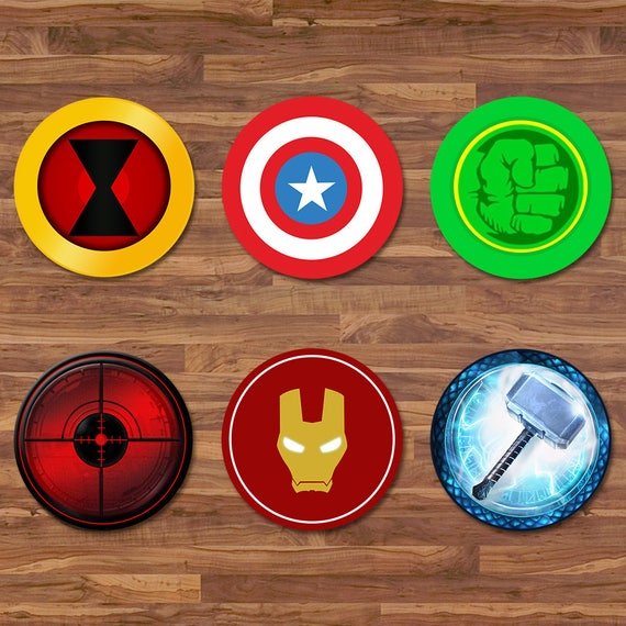 The Avengers Cupcake Toppers - Avengers Stickers - Logos - Avengers 2 inch Round Stickers - Superhero Avengers Party - Avengers Party Tags