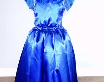 Cinderella dress. Royal blue satin with organza bertha. Embellished with diamanté and butterflies