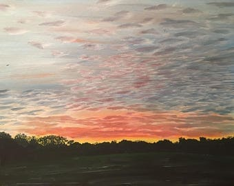 Sunset over Suffolk oil painting