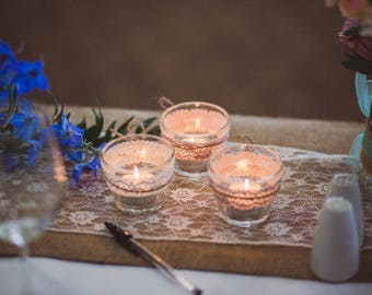 Glass Vintage Candle Holders, Vintage Wedding, Center Piece, Decor, Wedding Decor, Tea Light Holders, Hessian and Lace Decor, Rustic Wedding