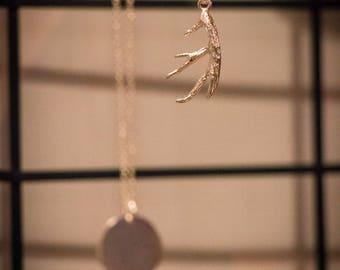 Antler necklace sterling silver