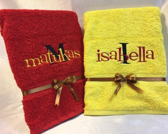 Embroidered Towel Kids Named Personalised Gift