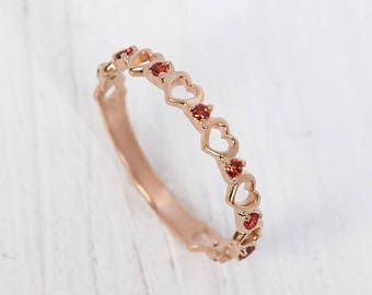 rose gold wedding ring garnet ring gold dainty ring gold women wedding ring - Rose Gold Wedding Rings For Women