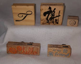 """Lot of 5 Wooden """"Shop"""" Stamps"""