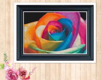 Rainbow Rose Counted Cross Stitch Pattern