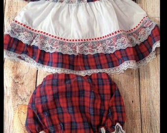 Red, White & Blue Two Piece Baby Outfit 6-12 month Forth of July vintage 3-6 months, memorial day, patriotic, american, america