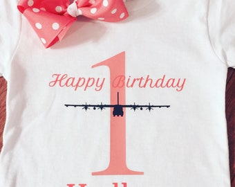 First birthday shirt with bow , personalized with airplane, C130