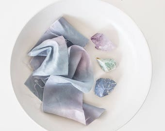 Cosmic~ Blue Green Purple~ Hand dyed Habotai Silk Ribbon,Bouquet ribbon, Bridal bouquet ribbon, Silk Ribbon, Habotai Ribbon, Naturally dyed~