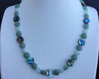 Abalone, aquamarine and green aventurine necklace