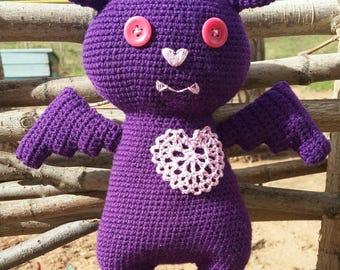 Cute bat,purple bat,crochet toy,kawaii toy,ooak toy,amigurumi bat,plush toy