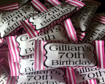 50 x Personalised Sweets Pink Candy Stripe Birthday party favours