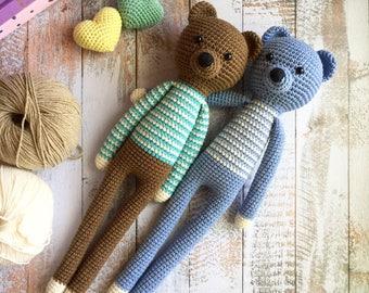 Crochet bear plush toy/Amigurumi animal toys/Stuffed toy for baby/Smart amigurumi bear for gift/Gift for baby/Nursery decor/Baby shower bear