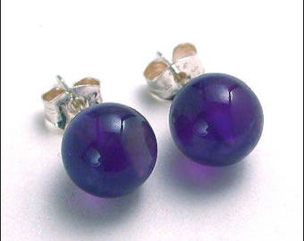 Amethyst 8mm Round Studs Earrings - Sterling Silver