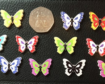 15 wooden butterfly button