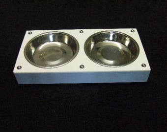Hand crafted Painted Accoya Wood Cat Feeder with Two Stainless Steel Bowls