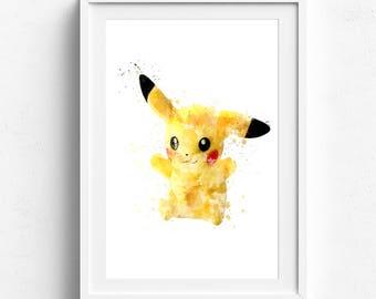 Pikachu Poster, Pokemon Wall Art, Pikachu, Pokemon Digital, Pokemon Digital Print, Pokemon Printable, Pokemon Poster, Pokemon Decor