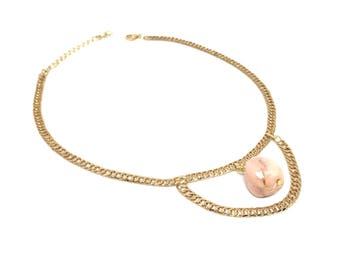 "12"" Gold Chain Choker Necklace with Pink Stone Dangle - FUZZ Stoned Choker"