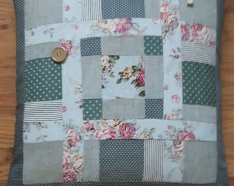 Linen Patchwork Feather Cushion