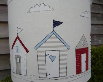 quirky seaside beach hut drum lampshade 20cm diameter