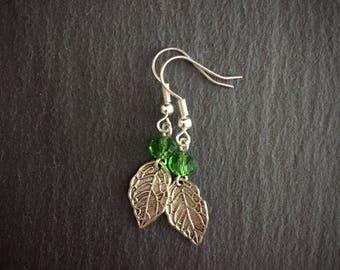 Silver Leaf Earrings, Simple Leaf Earrings, Bohemian Leaf Earrings, Crystal Earrings