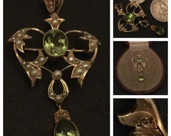 SUPERB edwardian foliate patterned 15CT GOLD peridot and pearl PENDANT