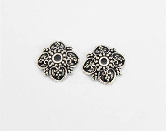 2 Beads Oxidized 925 Sterling Silver 10.5x11.5mm Flower Cap F370