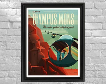 SpaceX Promotional Poster | Vintage Travel Mars | Retro Space Travel Poster