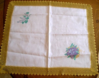 Hand painted on linen doilies
