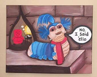 Labyrinth Worm acrylic painting on canvas 11x14