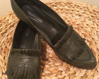 Dark green penny loafers