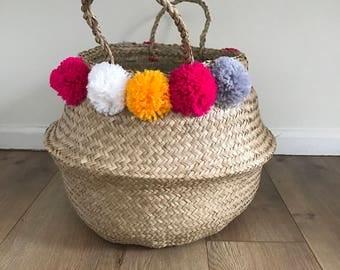 Medium Pom Pom Seagrass Basket, Belly Basket, Laundry Baskets, Storage Baskets