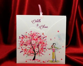 Romantic Wedding Invitation Card with Pink Ribbon, Wedding Invitations with Couple in Love, Personalized Printing, Free Shipping