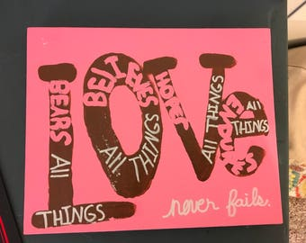 Pink love canvas art